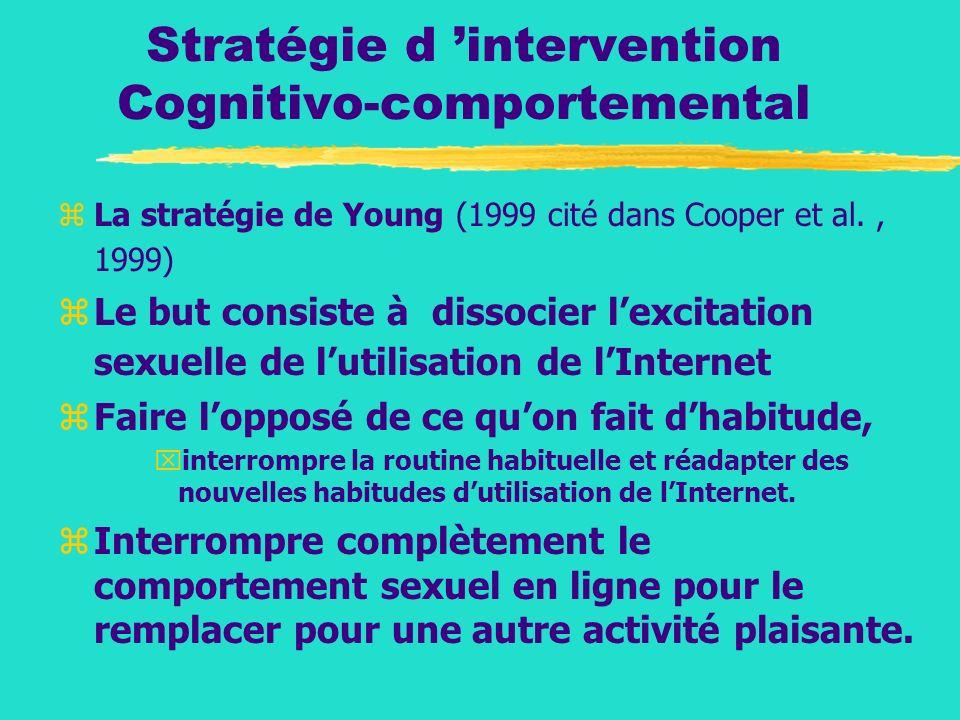 Stratégie d intervention Cognitivo-comportemental zLa stratégie de Young (1999 cité dans Cooper et al., 1999) zLe but consiste à dissocier lexcitation