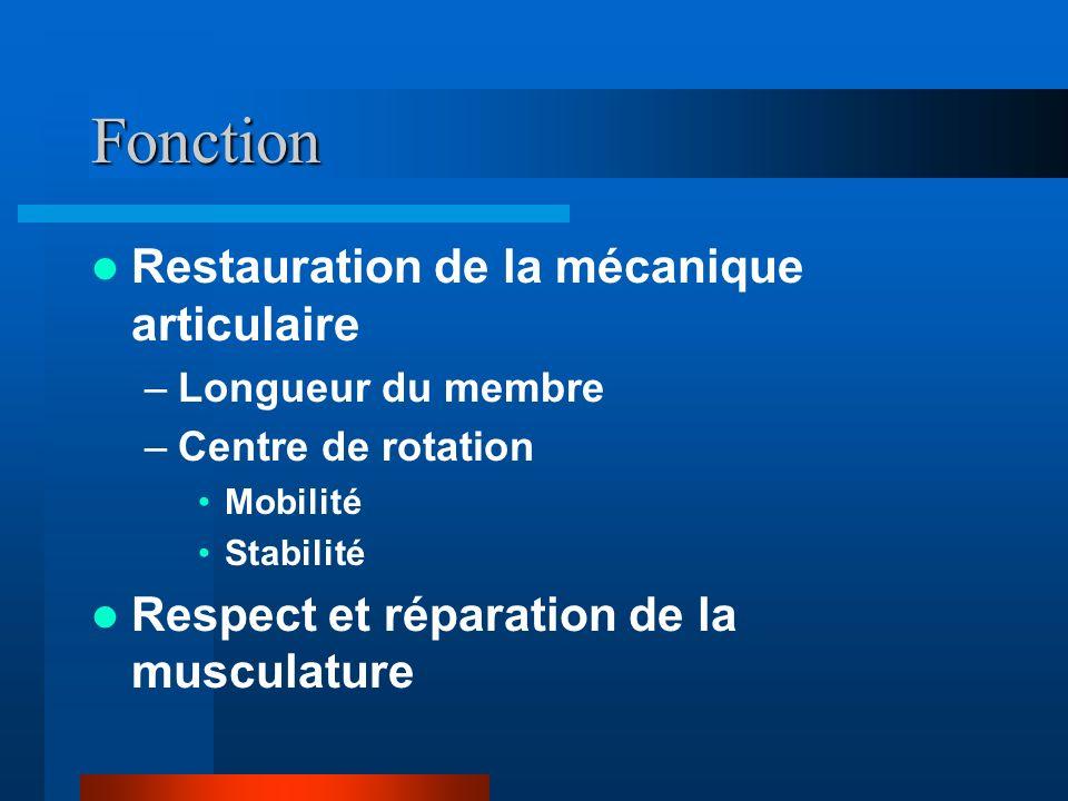 Fonction Restauration de la mécanique articulaire –Longueur du membre –Centre de rotation Mobilité Stabilité Respect et réparation de la musculature