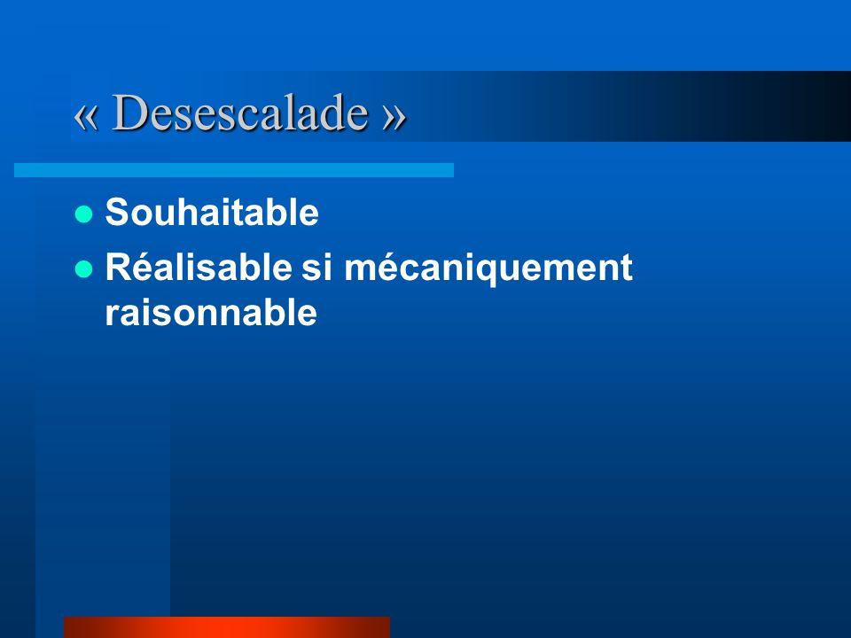 « Desescalade » Souhaitable Réalisable si mécaniquement raisonnable