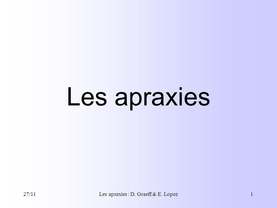 27/11Les apraxies : D.Graeff & E. Lopez2 I.