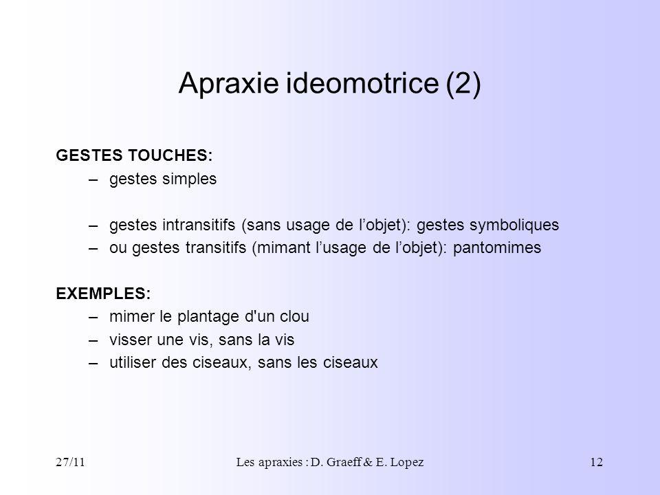 27/11Les apraxies : D. Graeff & E. Lopez12 Apraxie ideomotrice (2) GESTES TOUCHES: –gestes simples –gestes intransitifs (sans usage de lobjet): gestes