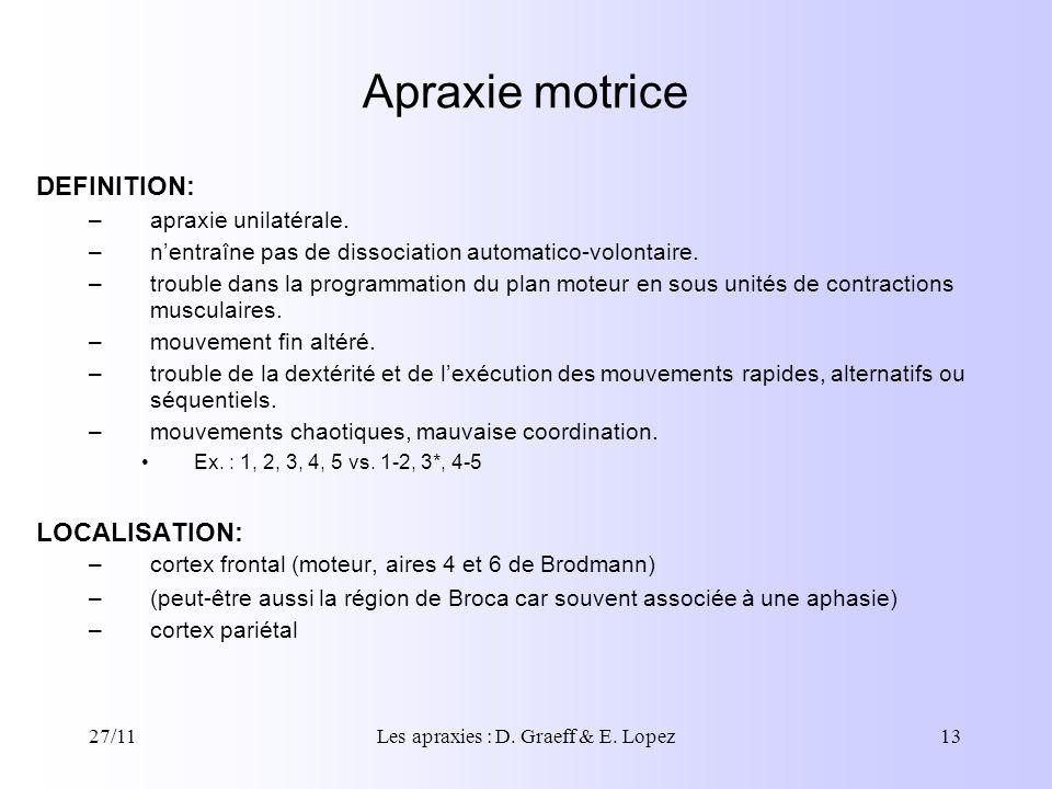 27/11Les apraxies : D. Graeff & E. Lopez13 DEFINITION: –apraxie unilatérale. –nentraîne pas de dissociation automatico-volontaire. –trouble dans la pr