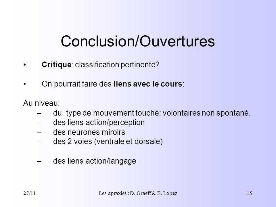 27/11Les apraxies : D. Graeff & E. Lopez15 Conclusion/Ouvertures Critique: classification pertinente? On pourrait faire des liens avec le cours: Au ni
