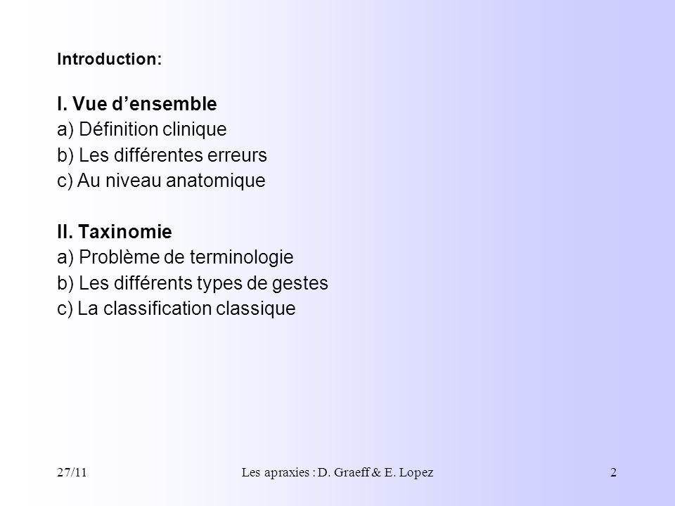 27/11Les apraxies : D. Graeff & E. Lopez2 I. Vue densemble a) Définition clinique b) Les différentes erreurs c) Au niveau anatomique II. Taxinomie a)