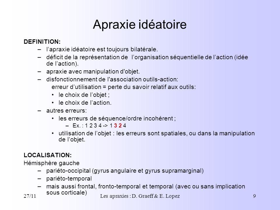 27/11Les apraxies : D. Graeff & E. Lopez9 Apraxie idéatoire DEFINITION: –lapraxie idéatoire est toujours bilatérale. –déficit de la représentation de