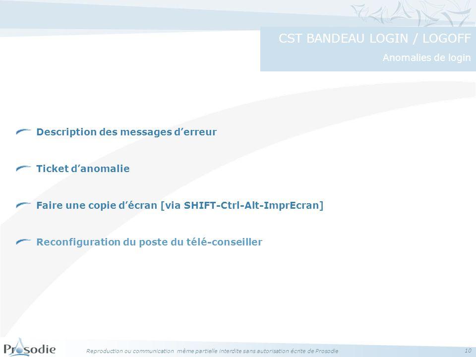 Reproduction ou communication même partielle interdite sans autorisation écrite de Prosodie 10 Description des messages derreur Ticket danomalie Faire