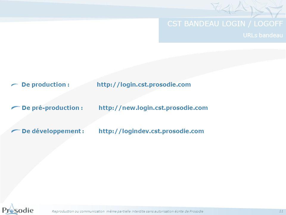 Reproduction ou communication même partielle interdite sans autorisation écrite de Prosodie 11 De production : http://login.cst.prosodie.com De pré-production : http://new.login.cst.prosodie.com De développement : http://logindev.cst.prosodie.com CST BANDEAU LOGIN / LOGOFF URLs bandeau