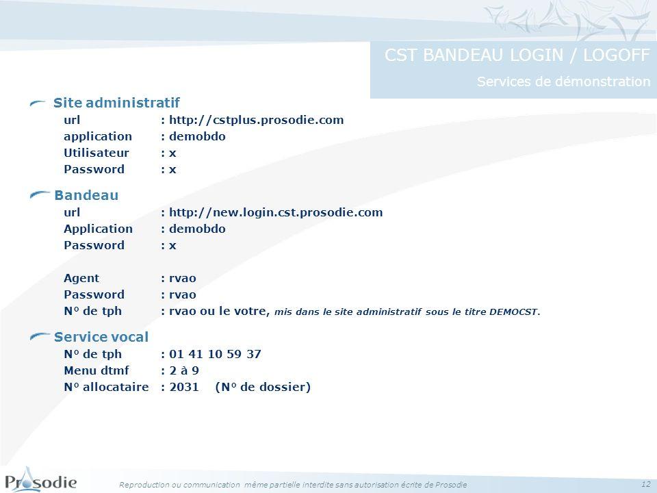 Reproduction ou communication même partielle interdite sans autorisation écrite de Prosodie 12 Site administratif url : http://cstplus.prosodie.com ap