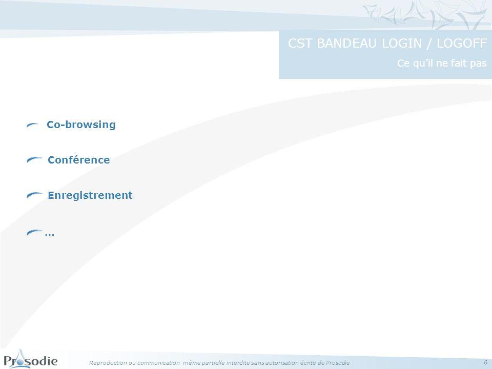 Reproduction ou communication même partielle interdite sans autorisation écrite de Prosodie 6 Co-browsing Conférence Enregistrement … CST BANDEAU LOGIN / LOGOFF Ce quil ne fait pas