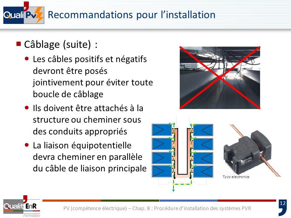12 PV (compétence électrique) – Chap. 8 : Procédure dinstallation des systèmes PVR Recommandations pour linstallation Câblage (suite) : Les câbles pos