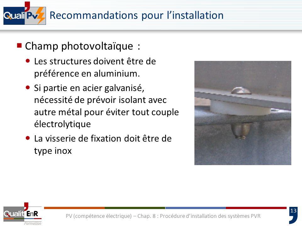 13 PV (compétence électrique) – Chap. 8 : Procédure dinstallation des systèmes PVR Recommandations pour linstallation Champ photovoltaïque : Les struc
