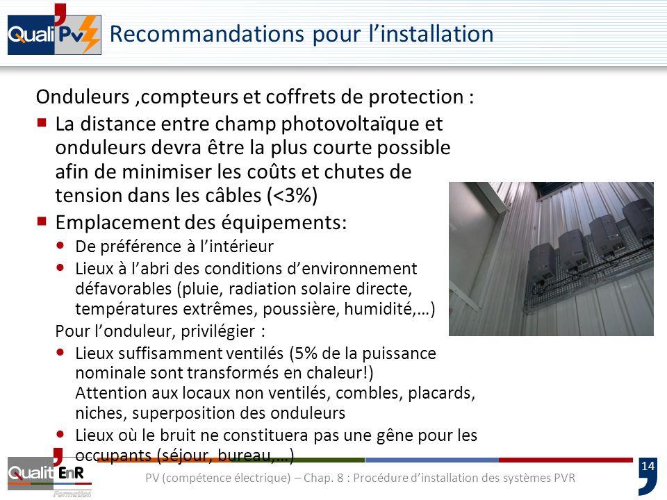 14 PV (compétence électrique) – Chap. 8 : Procédure dinstallation des systèmes PVR Recommandations pour linstallation Onduleurs,compteurs et coffrets