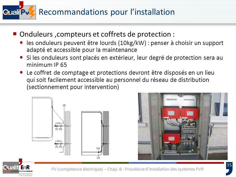 15 PV (compétence électrique) – Chap. 8 : Procédure dinstallation des systèmes PVR Recommandations pour linstallation Onduleurs,compteurs et coffrets