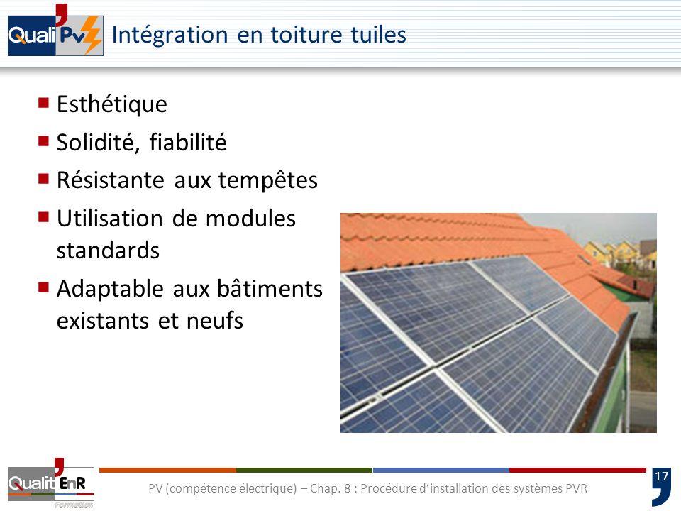 17 PV (compétence électrique) – Chap. 8 : Procédure dinstallation des systèmes PVR Intégration en toiture tuiles Esthétique Solidité, fiabilité Résist