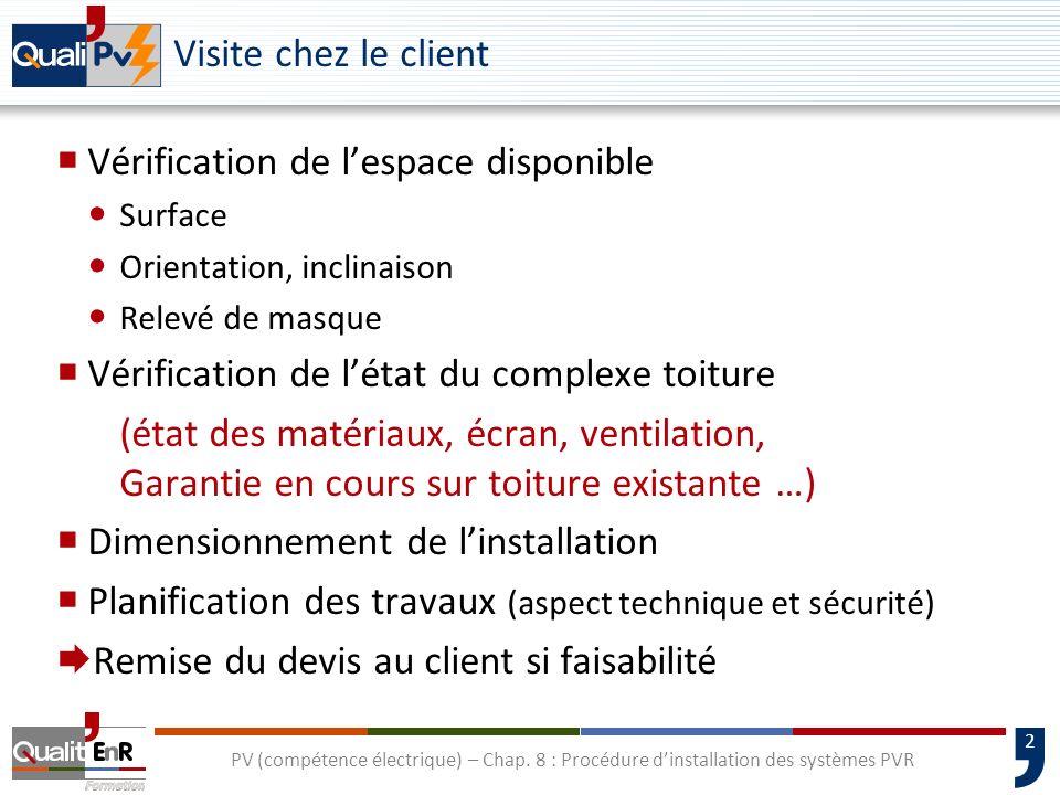 2 PV (compétence électrique) – Chap. 8 : Procédure dinstallation des systèmes PVR Visite chez le client Vérification de lespace disponible Surface Ori