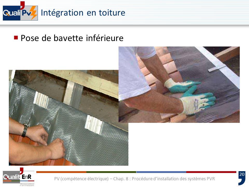 20 PV (compétence électrique) – Chap. 8 : Procédure dinstallation des systèmes PVR Intégration en toiture Pose de bavette inférieure