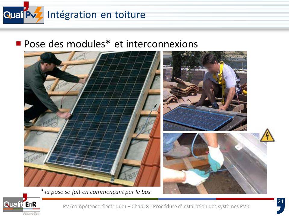 21 PV (compétence électrique) – Chap. 8 : Procédure dinstallation des systèmes PVR Intégration en toiture Pose des modules* et interconnexions * la po