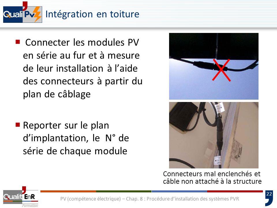 22 PV (compétence électrique) – Chap. 8 : Procédure dinstallation des systèmes PVR Intégration en toiture Connecter les modules PV en série au fur et