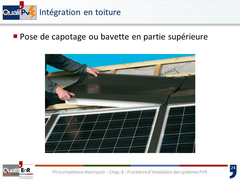 24 PV (compétence électrique) – Chap. 8 : Procédure dinstallation des systèmes PVR Intégration en toiture Pose de capotage ou bavette en partie supéri