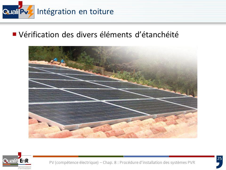 25 PV (compétence électrique) – Chap. 8 : Procédure dinstallation des systèmes PVR Intégration en toiture Vérification des divers éléments détanchéité