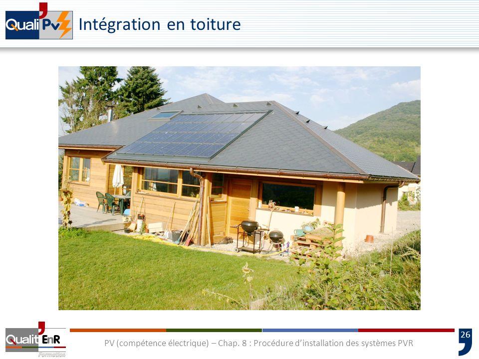 26 PV (compétence électrique) – Chap. 8 : Procédure dinstallation des systèmes PVR Intégration en toiture