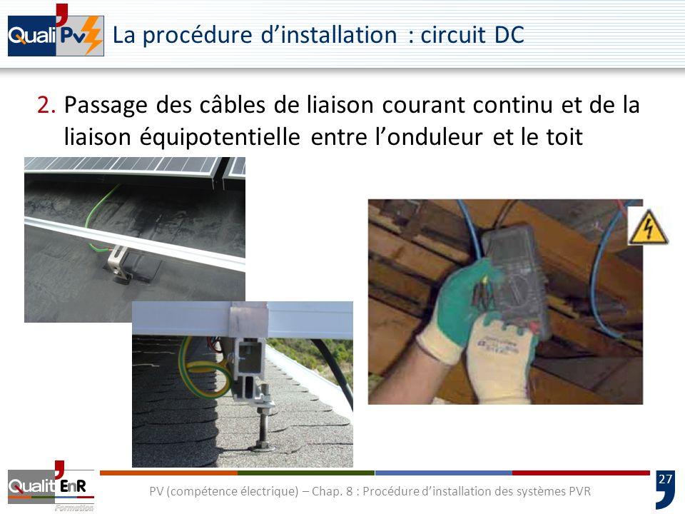 27 PV (compétence électrique) – Chap. 8 : Procédure dinstallation des systèmes PVR La procédure dinstallation : circuit DC 2.Passage des câbles de lia