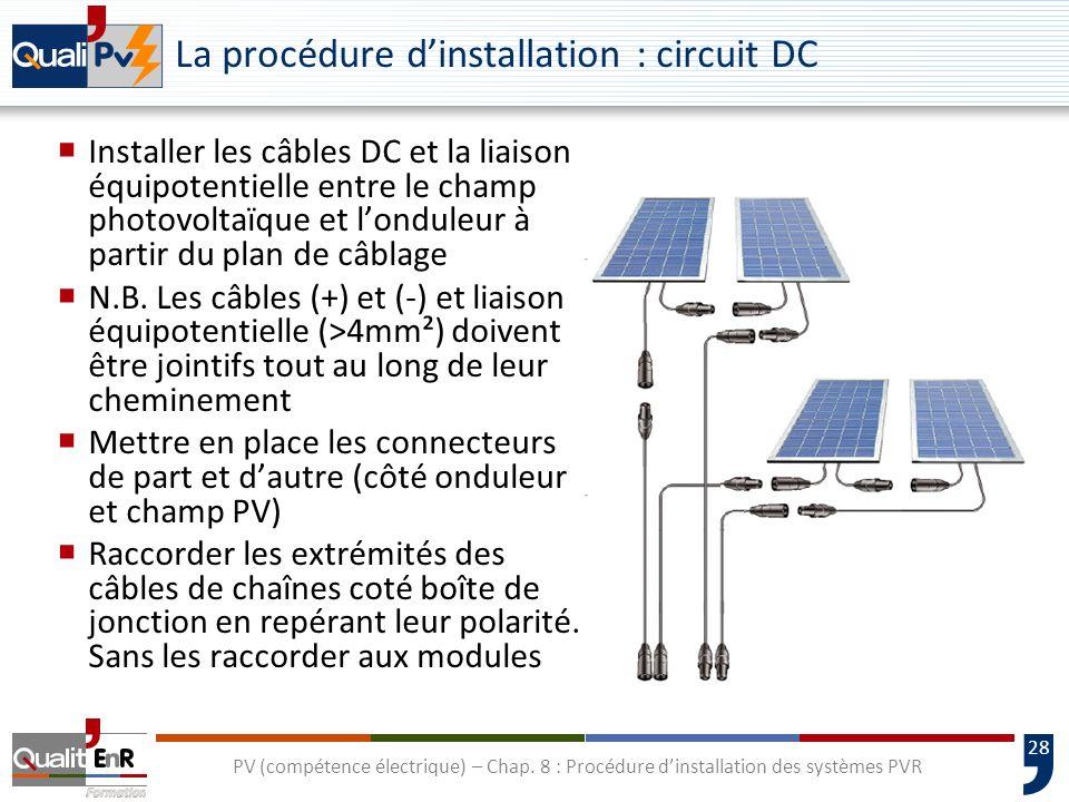 28 PV (compétence électrique) – Chap. 8 : Procédure dinstallation des systèmes PVR La procédure dinstallation : circuit DC Installer les câbles DC et