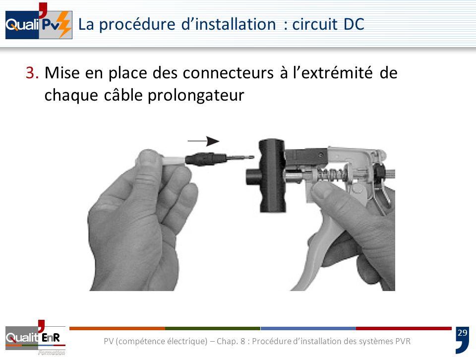 29 PV (compétence électrique) – Chap. 8 : Procédure dinstallation des systèmes PVR La procédure dinstallation : circuit DC 3.Mise en place des connect