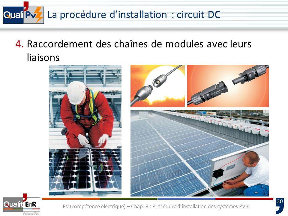 30 PV (compétence électrique) – Chap. 8 : Procédure dinstallation des systèmes PVR La procédure dinstallation : circuit DC 4.Raccordement des chaînes