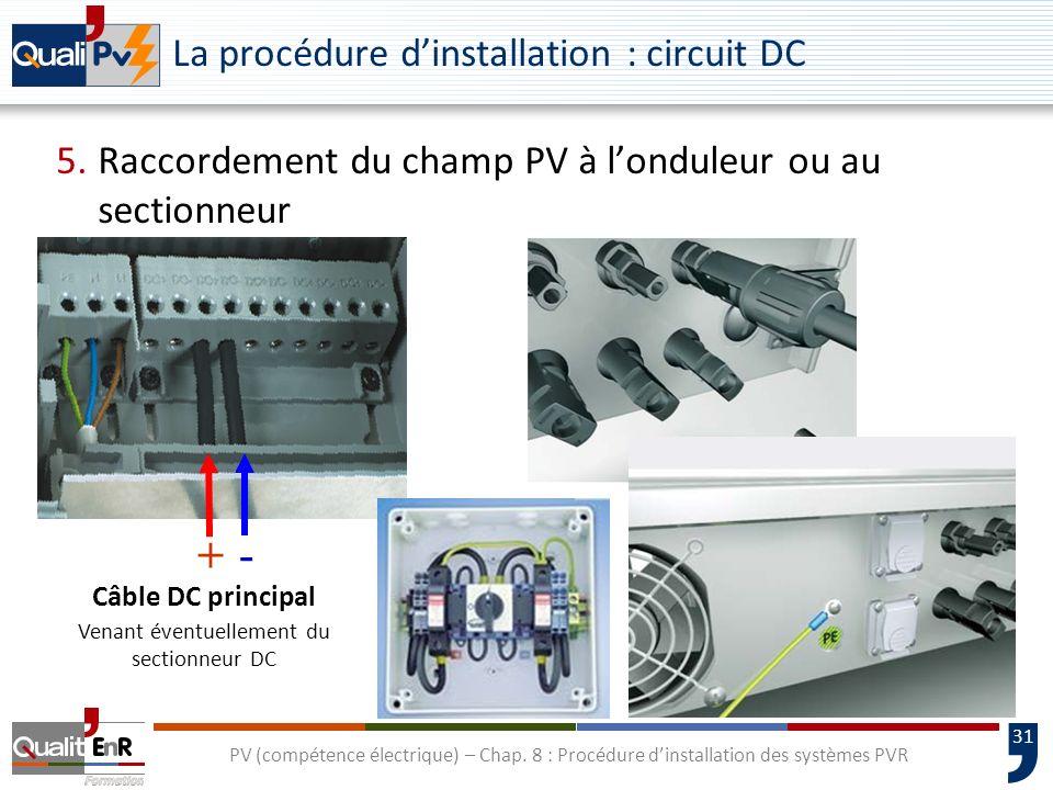 31 PV (compétence électrique) – Chap. 8 : Procédure dinstallation des systèmes PVR La procédure dinstallation : circuit DC 5.Raccordement du champ PV