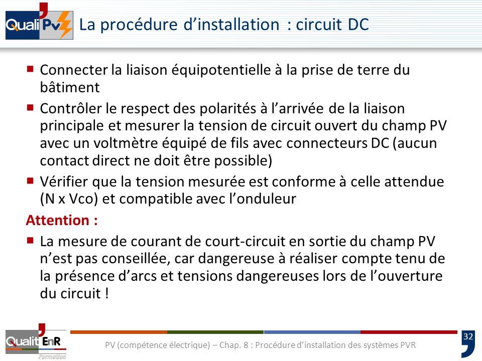 32 PV (compétence électrique) – Chap. 8 : Procédure dinstallation des systèmes PVR La procédure dinstallation : circuit DC Connecter la liaison équipo