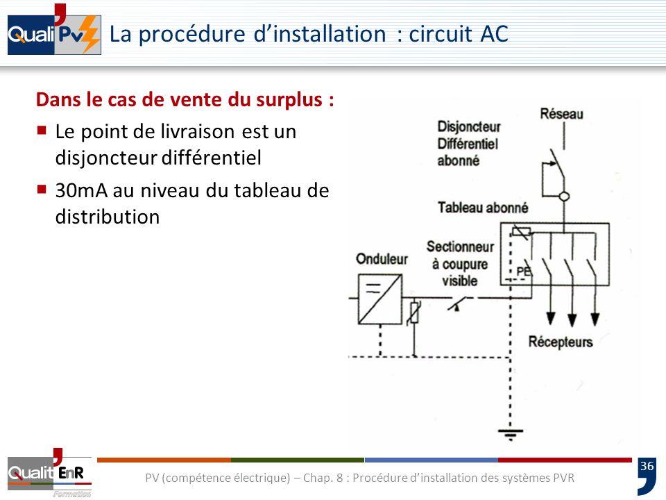 36 PV (compétence électrique) – Chap. 8 : Procédure dinstallation des systèmes PVR La procédure dinstallation : circuit AC Dans le cas de vente du sur