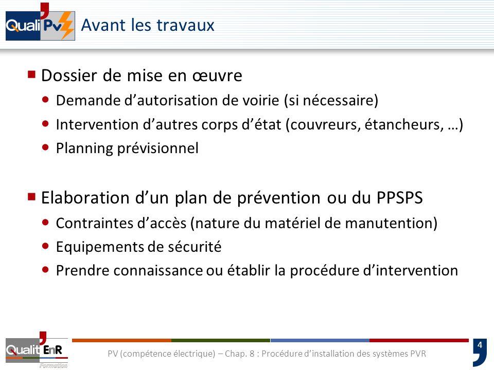 4 PV (compétence électrique) – Chap. 8 : Procédure dinstallation des systèmes PVR Avant les travaux Dossier de mise en œuvre Demande dautorisation de