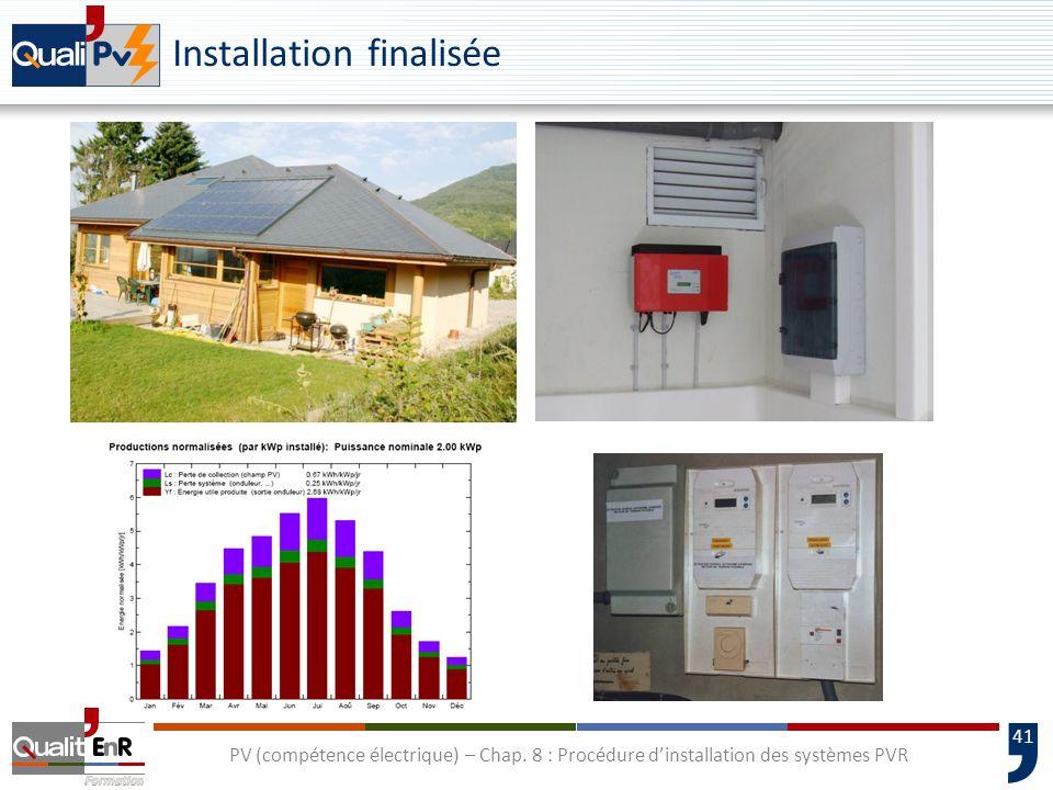 41 PV (compétence électrique) – Chap. 8 : Procédure dinstallation des systèmes PVR Installation finalisée