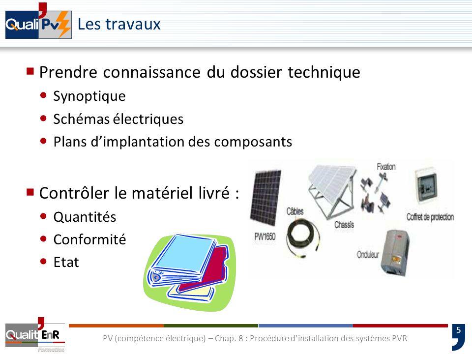 5 PV (compétence électrique) – Chap. 8 : Procédure dinstallation des systèmes PVR Les travaux Prendre connaissance du dossier technique Synoptique Sch
