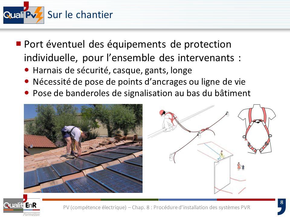 8 PV (compétence électrique) – Chap. 8 : Procédure dinstallation des systèmes PVR Sur le chantier Port éventuel des équipements de protection individu