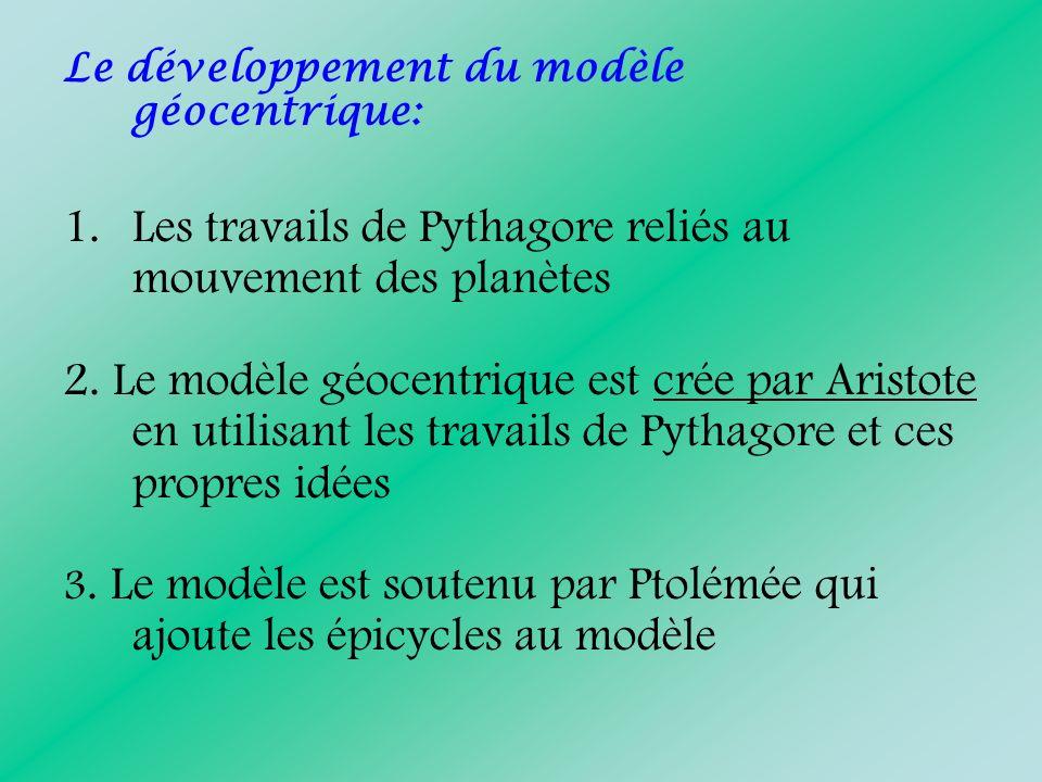 Le développement du modèle géocentrique: 1.Les travails de Pythagore reliés au mouvement des planètes 2. Le modèle géocentrique est crée par Aristote