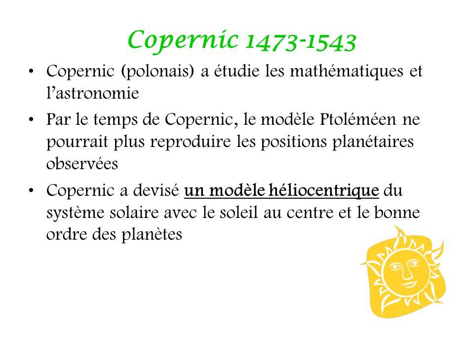 Copernic 1473-1543 Copernic (polonais) a étudie les mathématiques et lastronomie Par le temps de Copernic, le modèle Ptoléméen ne pourrait plus reprod