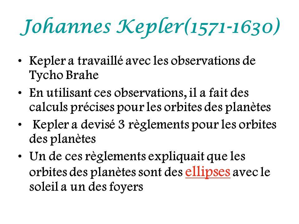 Johannes Kepler(1571-1630) Kepler a travaillé avec les observations de Tycho Brahe En utilisant ces observations, il a fait des calculs précises pour