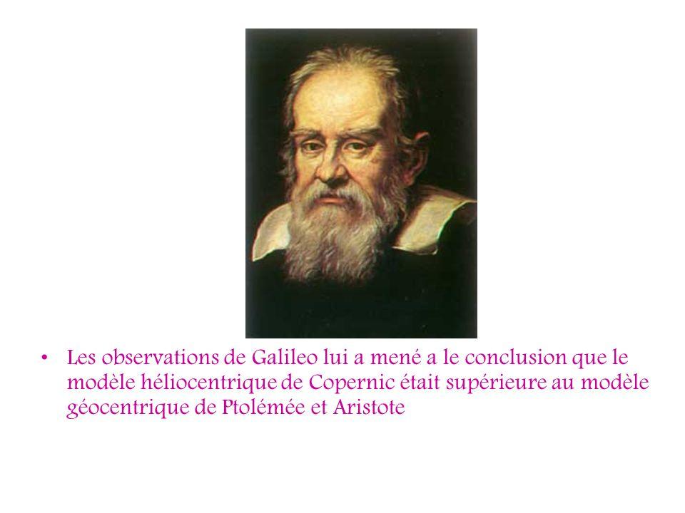 Les observations de Galileo lui a mené a le conclusion que le modèle héliocentrique de Copernic était supérieure au modèle géocentrique de Ptolémée et