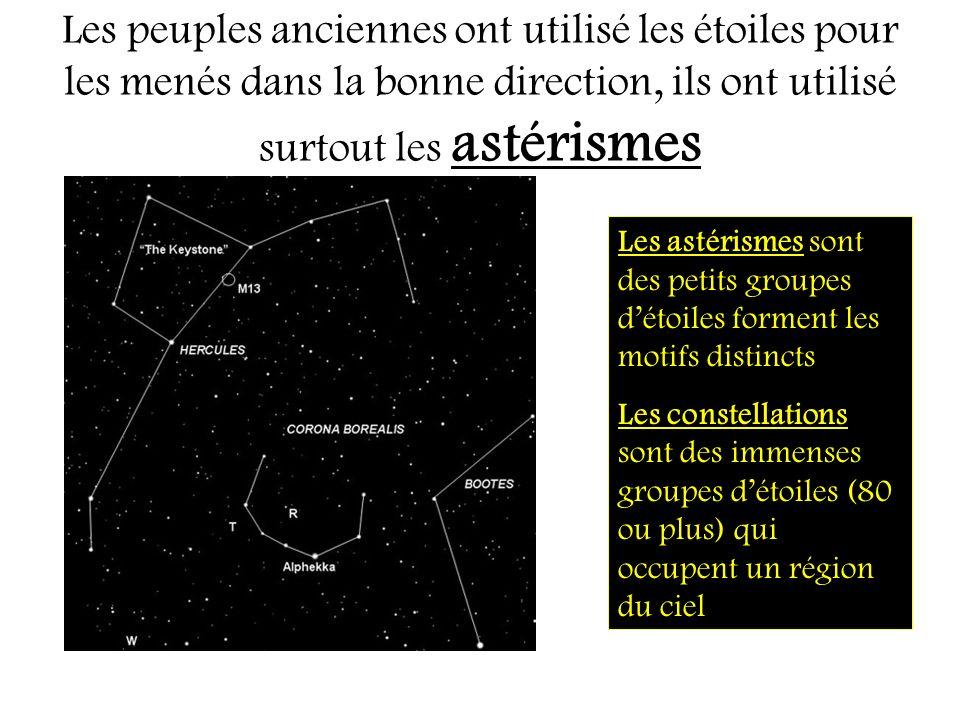 Les peuples anciennes ont utilisé les étoiles pour les menés dans la bonne direction, ils ont utilisé surtout les astérismes Les astérismes sont des p
