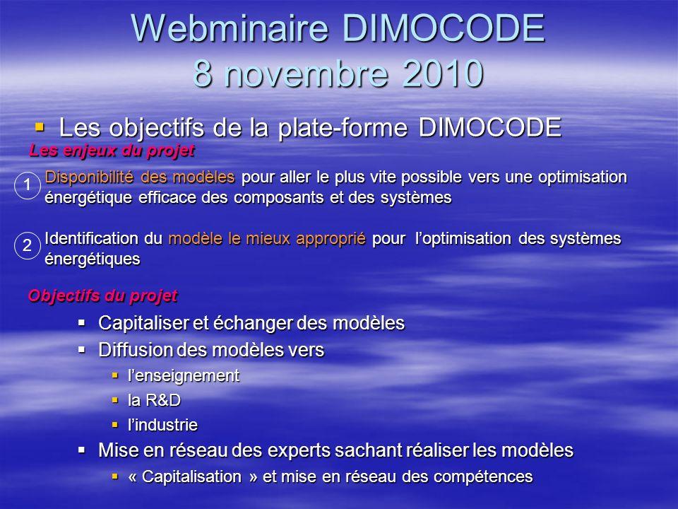 Webminaire DIMOCODE 8 novembre 2010 Les objectifs de la plate-forme DIMOCODE Les objectifs de la plate-forme DIMOCODE Les enjeux du projet Disponibili