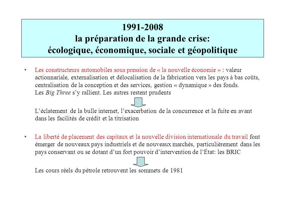 1991-2008 la préparation de la grande crise: écologique, économique, sociale et géopolitique Les constructeurs automobiles sous pression de « la nouve