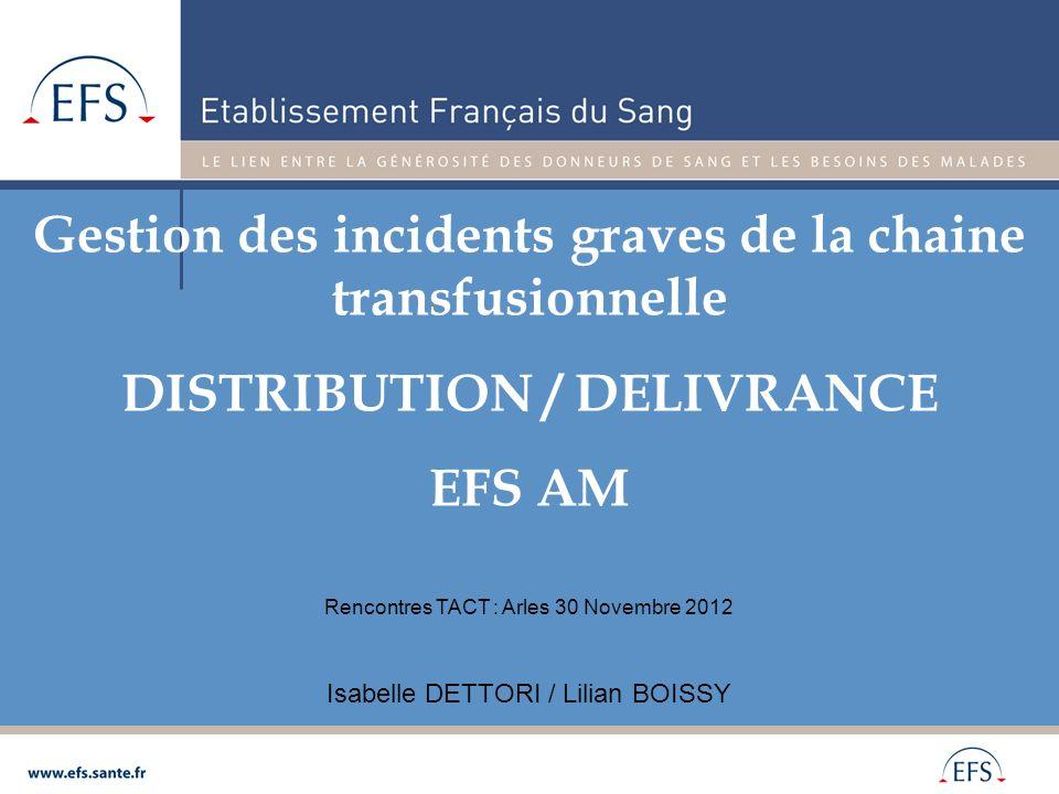 Gestion des incidents graves de la chaine transfusionnelle DISTRIBUTION / DELIVRANCE EFS AM Isabelle DETTORI / Lilian BOISSY Rencontres TACT : Arles 3