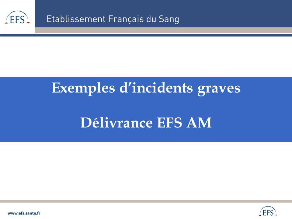 Exemples dincidents graves Délivrance EFS AM