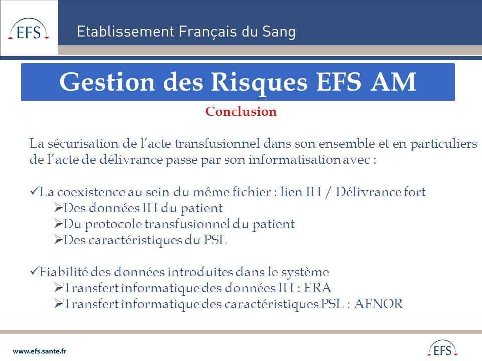 Gestion des Risques EFS AM Conclusion La sécurisation de lacte transfusionnel dans son ensemble et en particuliers de lacte de délivrance passe par so