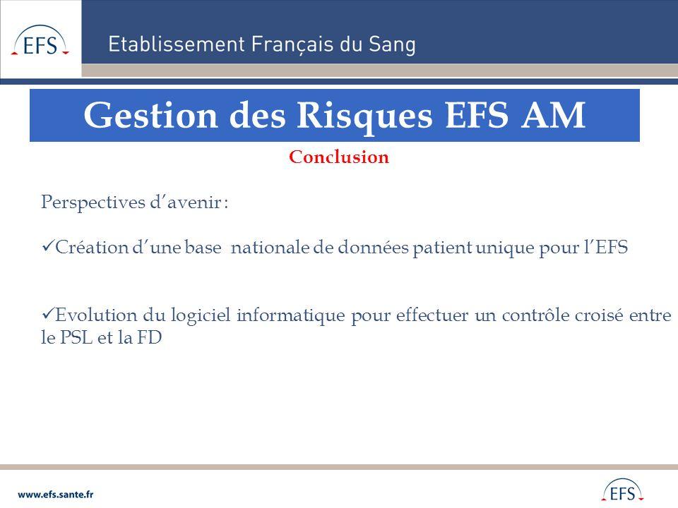 Gestion des Risques EFS AM Conclusion Perspectives davenir : Création dune base nationale de données patient unique pour lEFS Evolution du logiciel in