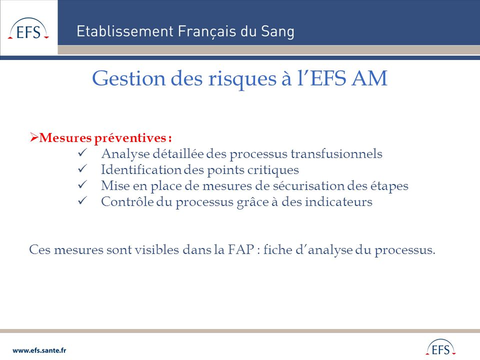 Gestion des risques à lEFS AM Mesures préventives : Analyse détaillée des processus transfusionnels Identification des points critiques Mise en place