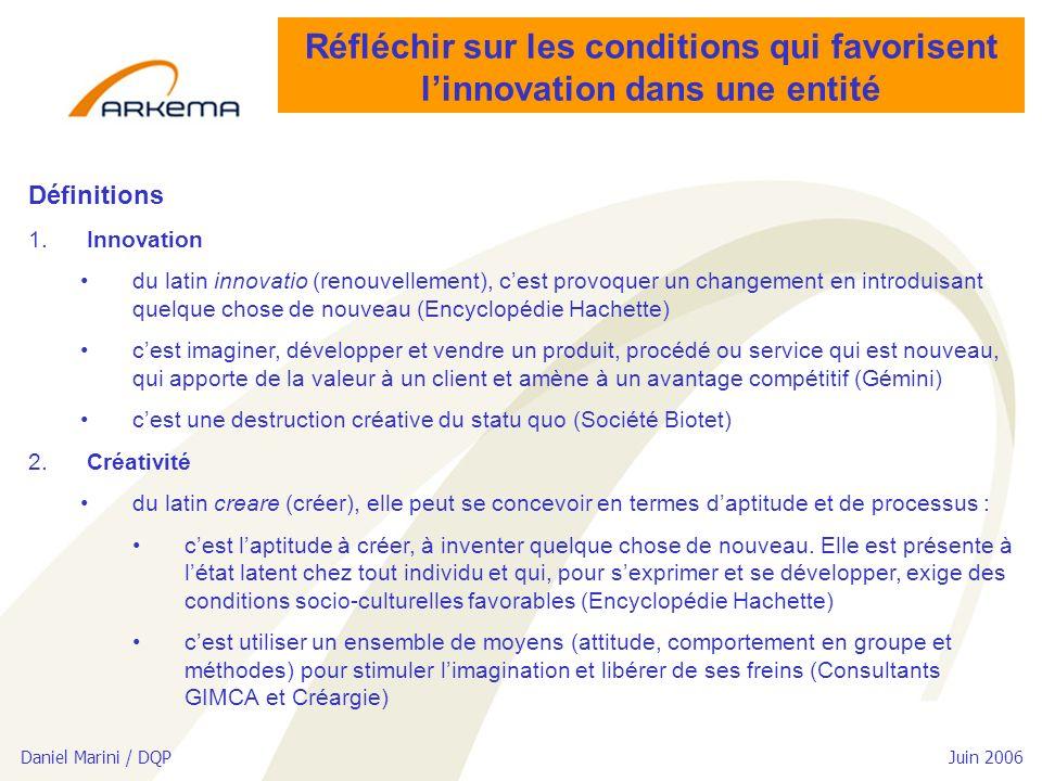 Daniel Marini / DQP Juin 2006 Réfléchir sur les conditions qui favorisent linnovation dans une entité Définitions 1.