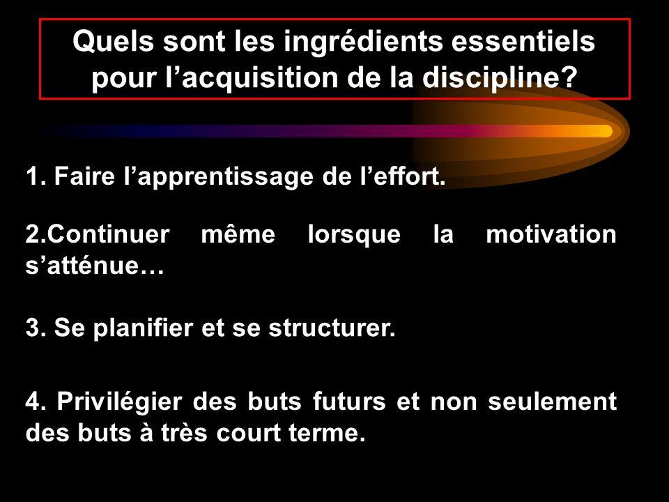 Quels sont les ingrédients essentiels pour lacquisition de la discipline? 1. Faire lapprentissage de leffort. 2.Continuer même lorsque la motivation s